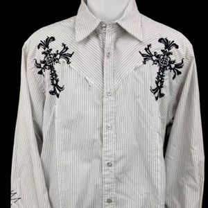 Roar Shirts - ROAR Mens Embroidered Button Front Shirt Size L